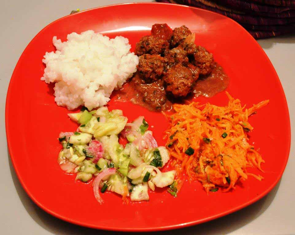 Boulettes de viande hachée au riz