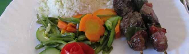 Brochettes de coeur de boeuf aux legumes