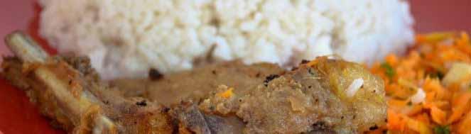 Cotelette laquée - Tsa tsiou avec du riz blanc et achard carotte