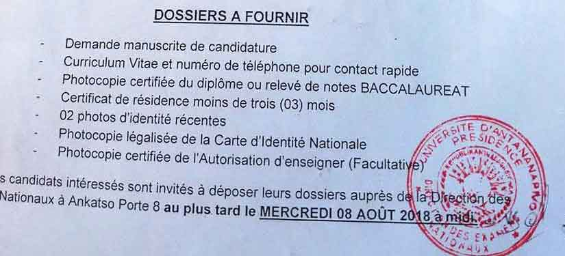 Dossier à fournir recrutement université antananarivo