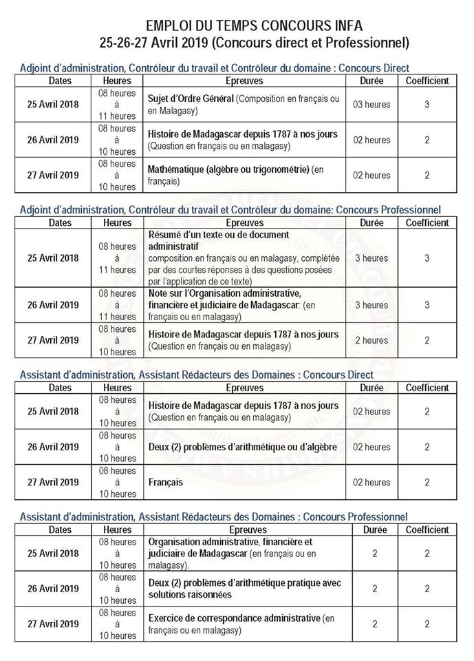404b45f770f Concours infa 2018   recrutement de 350 élèves dans les 22 régions ...