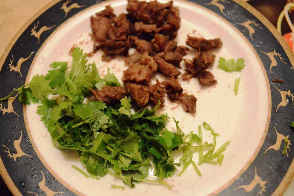 persil et tranche fine de viande de boeuf